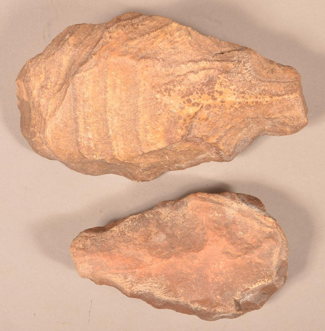 2 Ancient Flaked Stone Hand Axes, Tens of Thousands of - 2