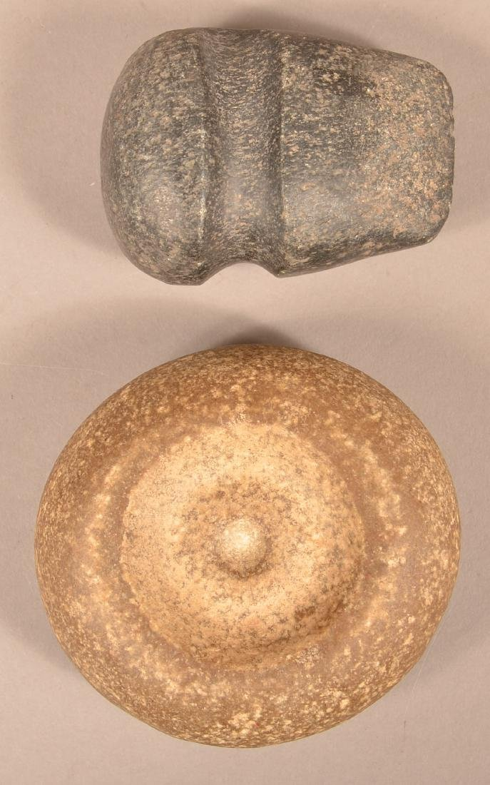 2 Midwestern Stone Items - A Prehistoric 3/4 Groove Axe