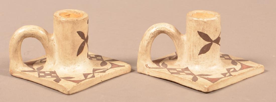"Pair of Vintage Acoma Pueblo Candle Holders  2 1/4"" x - 2"