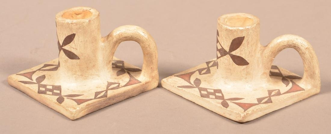 "Pair of Vintage Acoma Pueblo Candle Holders  2 1/4"" x - 3"