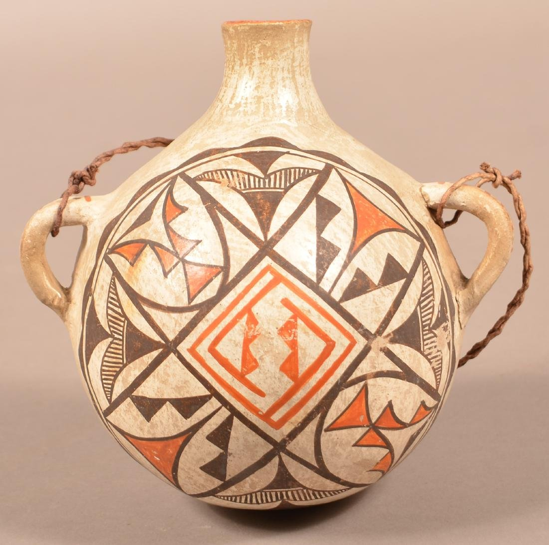 "Antique Acoma Pueblo Pottery Canteen 7"" x 5 3/4"" One"