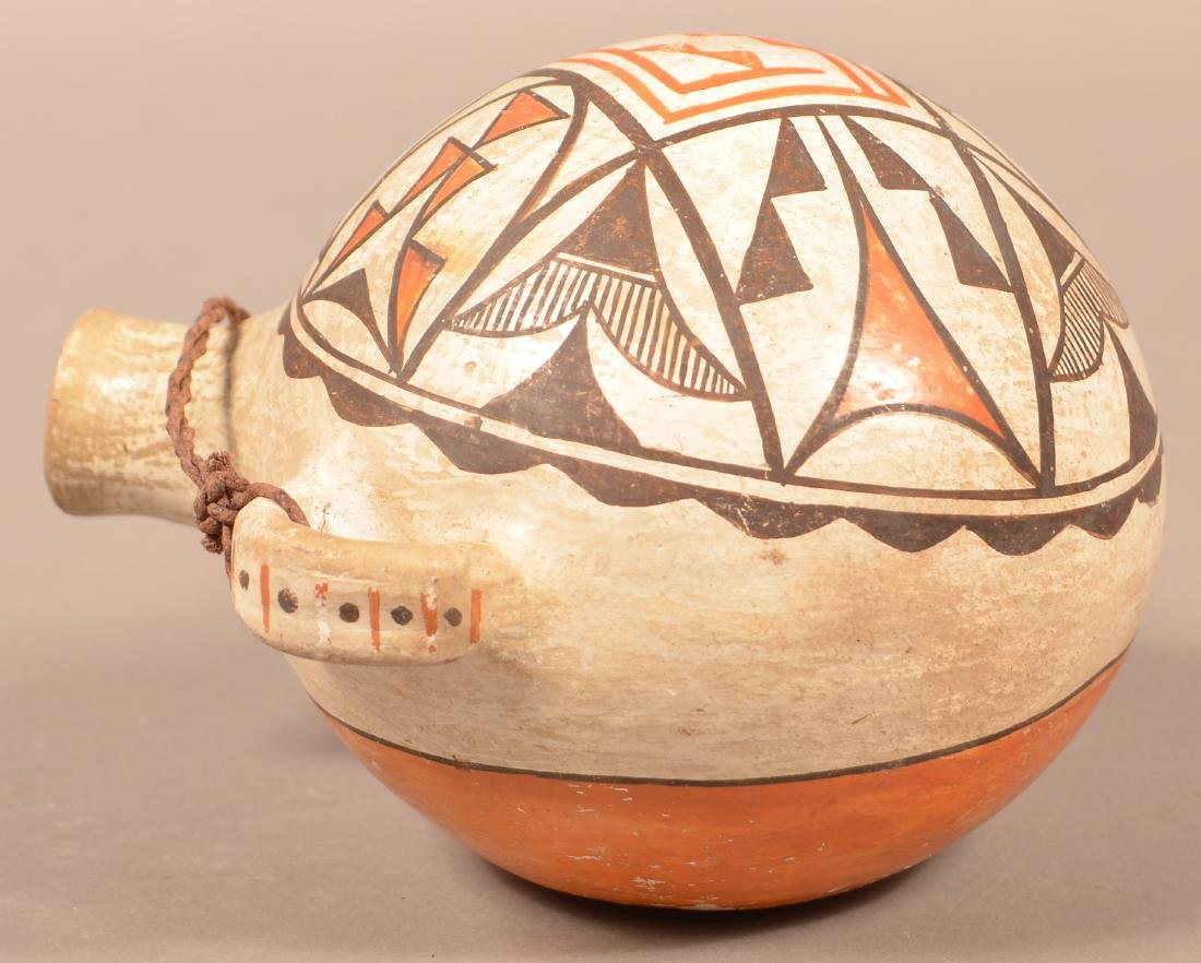 "Antique Acoma Pueblo Pottery Canteen 7"" x 5 3/4"" One - 3"