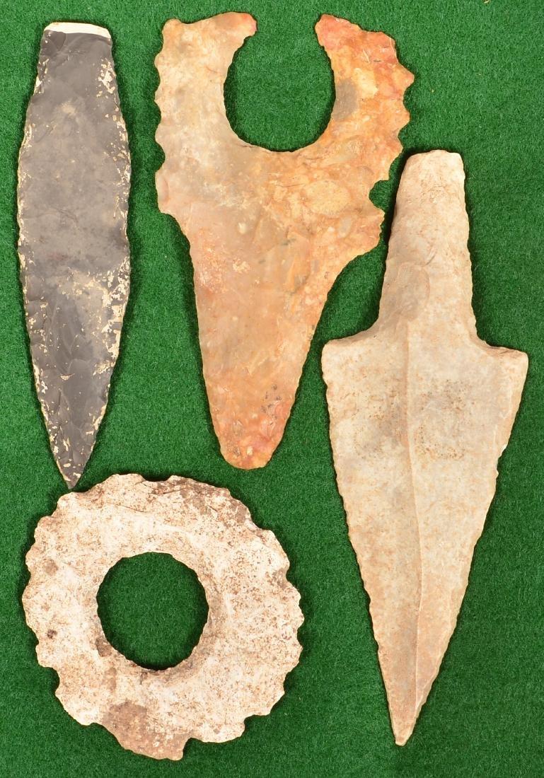4 Precolumbian, Mayan Artifacts - 2 Eccentric Flints, 2