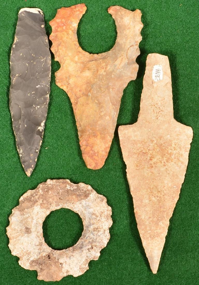 4 Precolumbian, Mayan Artifacts - 2 Eccentric Flints, 2 - 2