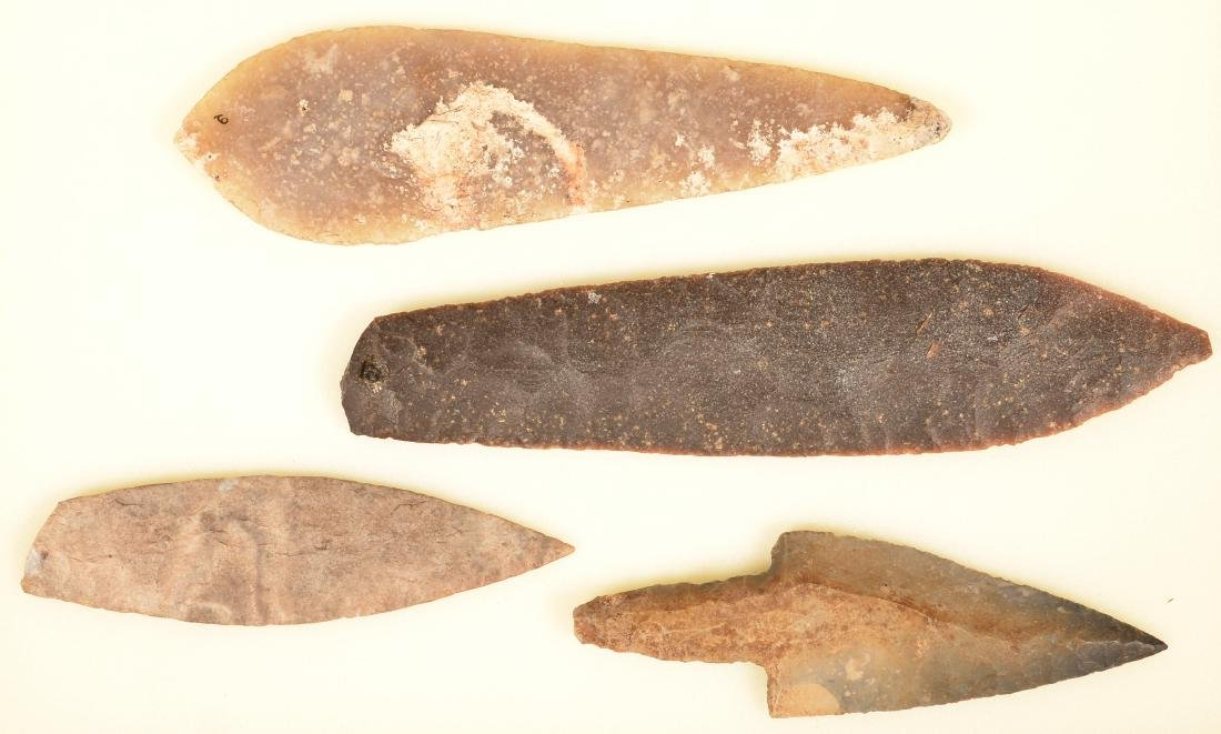 "4 Large Precolumbian, Mexican Flint Artifacts 10 3/4"""