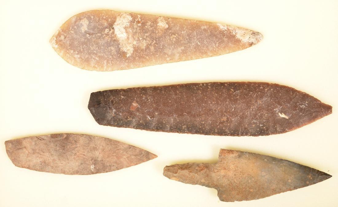 "4 Large Precolumbian, Mexican Flint Artifacts 10 3/4"" - 2"