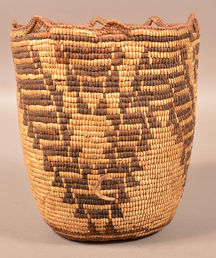 Antique Klikitat Indian Basekt, Coiled w/ Imbricated
