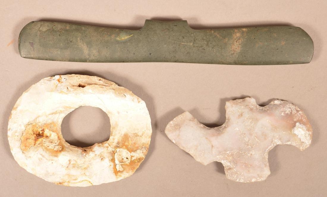 3 Precolumbian, Mayan Stone Artifacts - Pectoral Stone