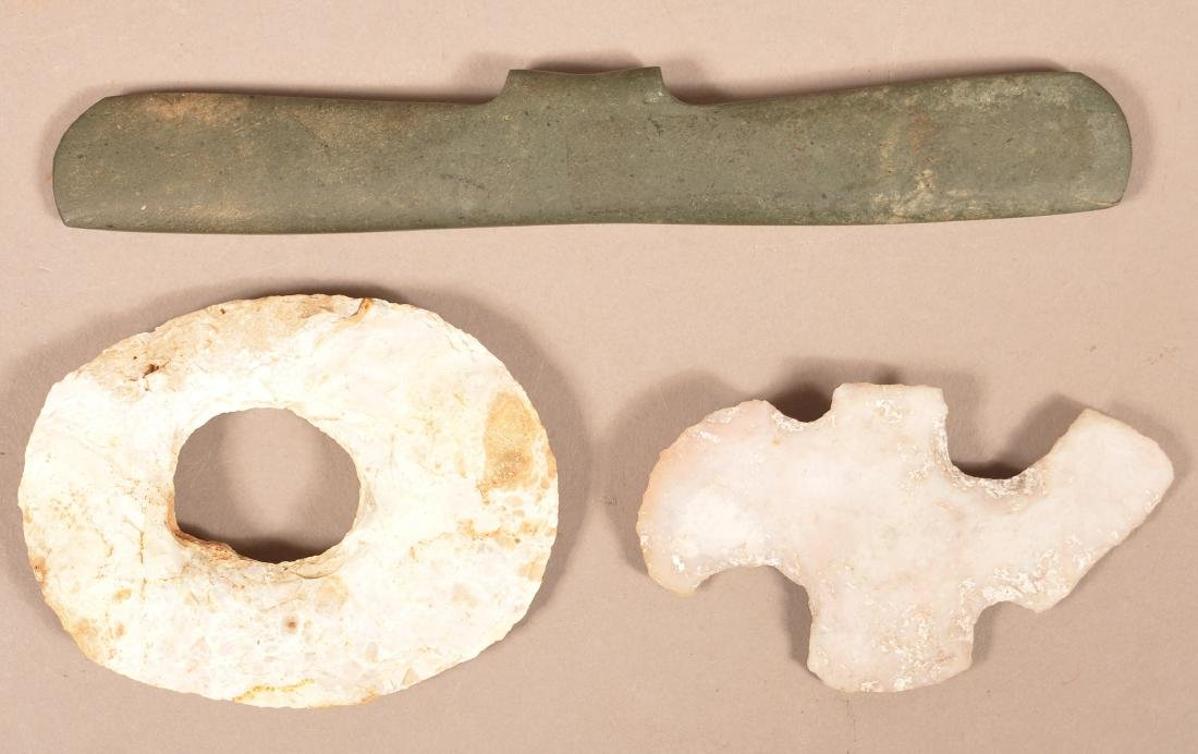 3 Precolumbian, Mayan Stone Artifacts - Pectoral Stone - 2