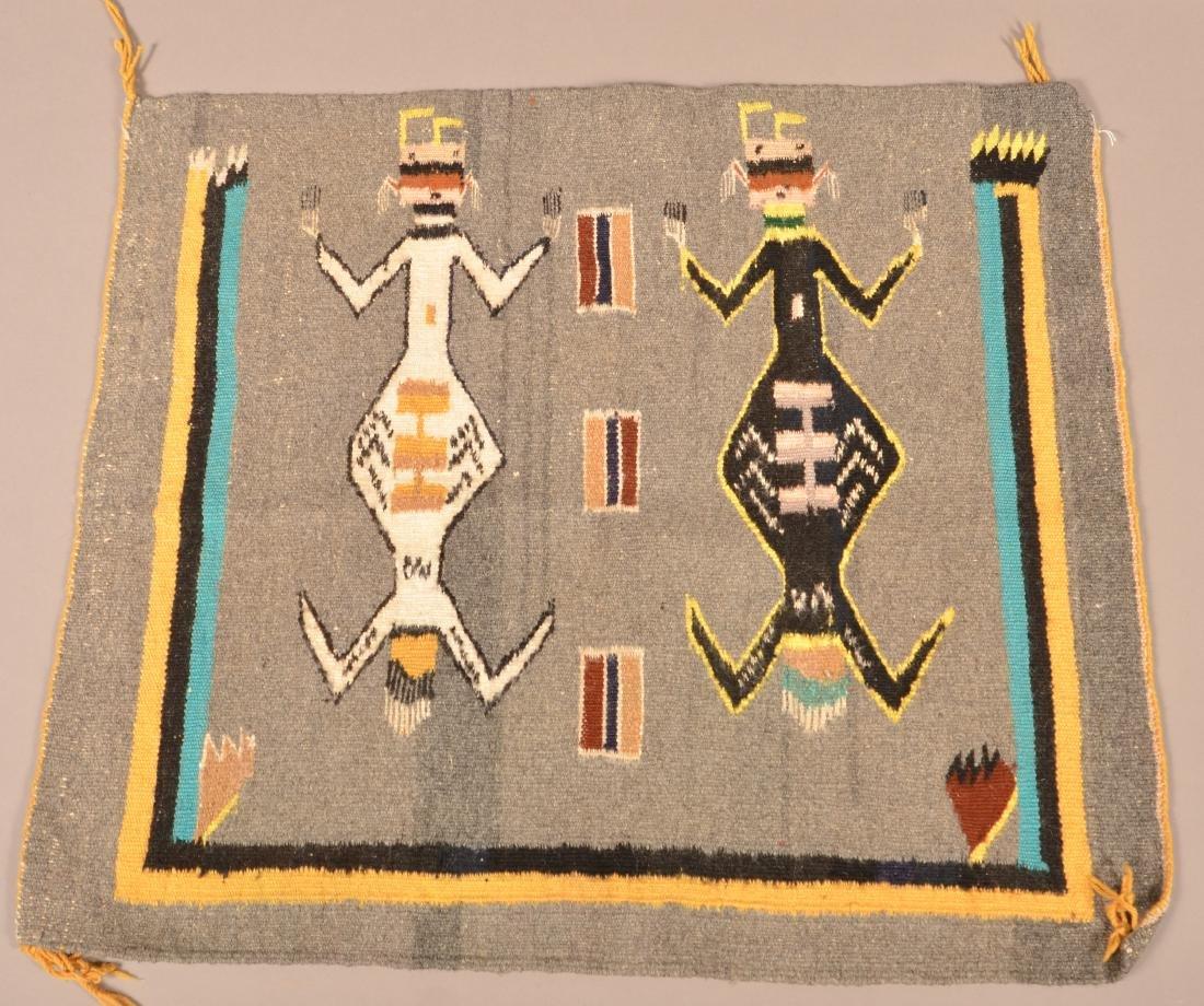"""Navaho Textile, 29"""" x 26"""" w/ """"Yei"""" Figure Motif"""