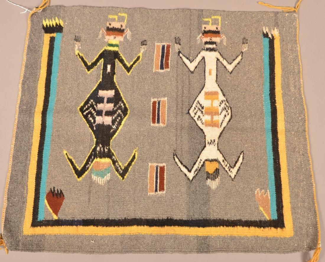 """Navaho Textile, 29"""" x 26"""" w/ """"Yei"""" Figure Motif - 2"""