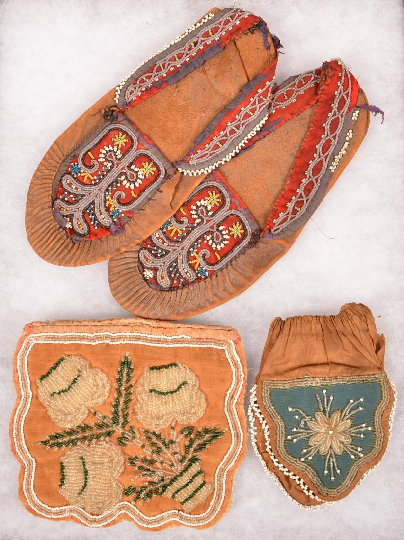 Early N.E Indian Beaded Items - 2 Iroquois Bead Bags - 2