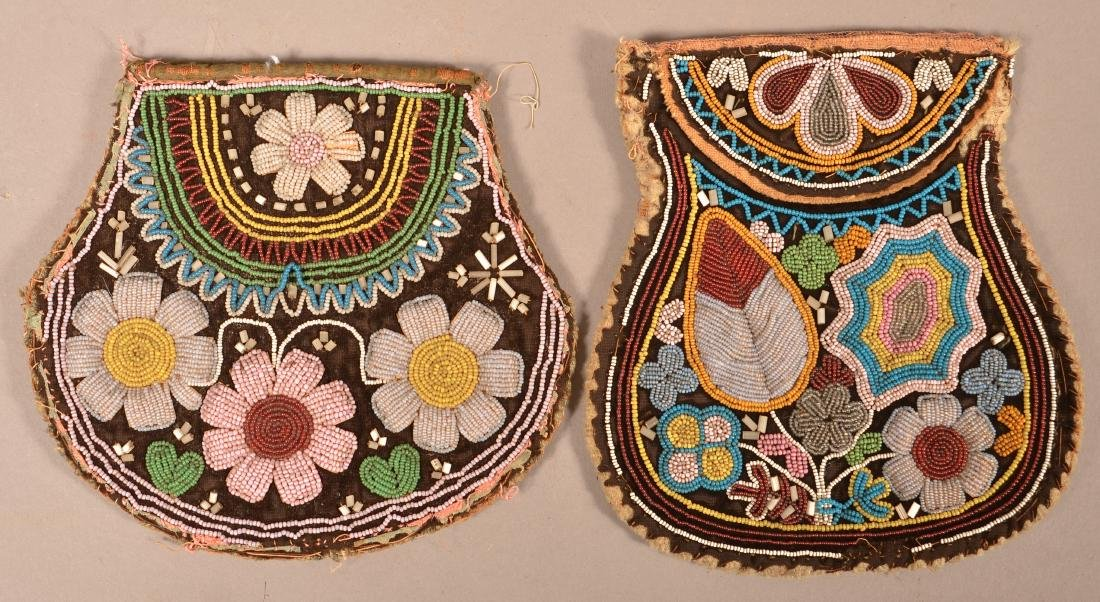 2 Mid 19th Cent. Beaded Iroquois Bags w/ Minor Bead