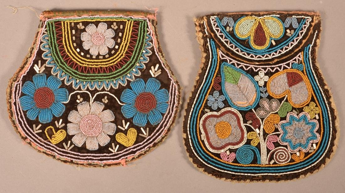 2 Mid 19th Cent. Beaded Iroquois Bags w/ Minor Bead - 2