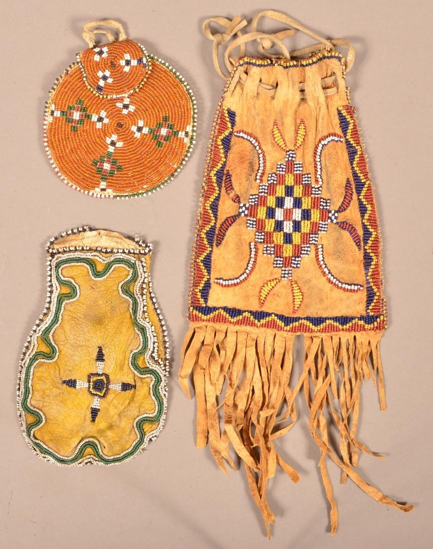 3 Antique Beaded Buckskin Bags