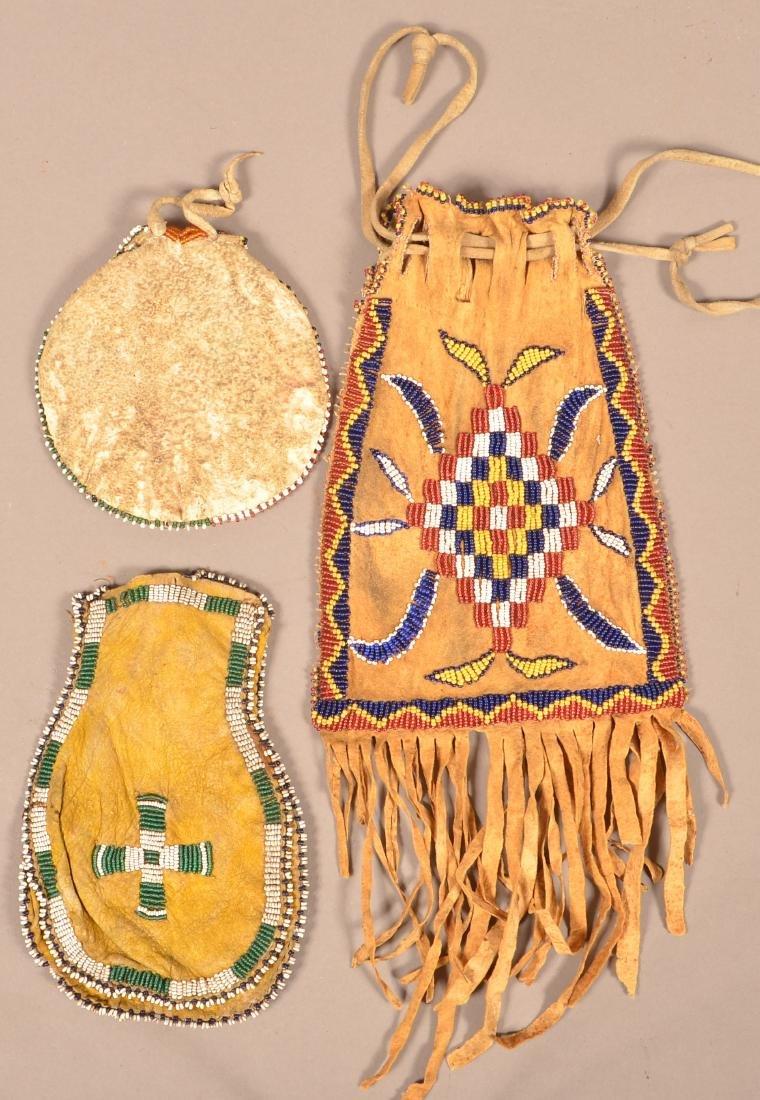 3 Antique Beaded Buckskin Bags - 2