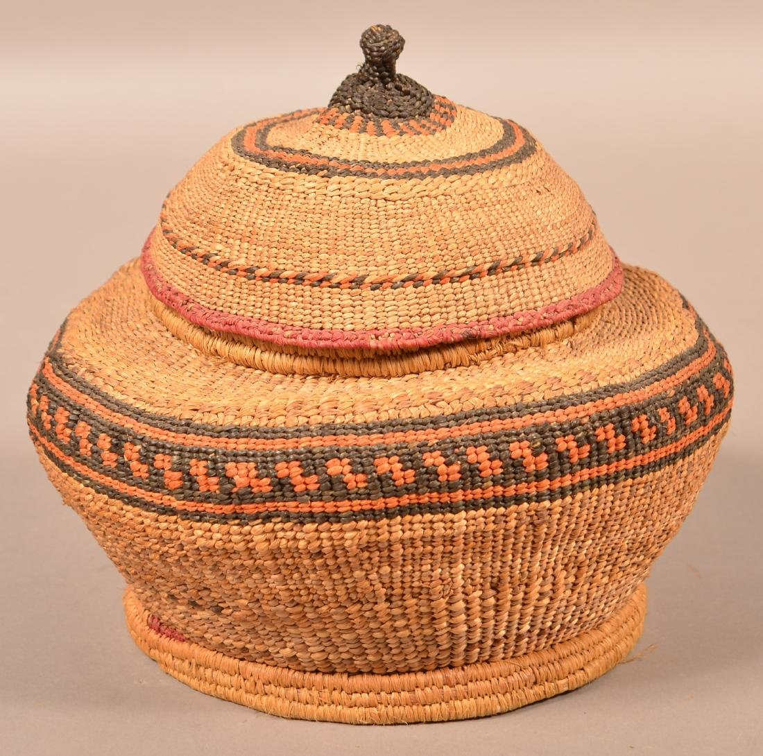 """Antique Quinalt Indian Twined and Lidded Basket 10"""""""