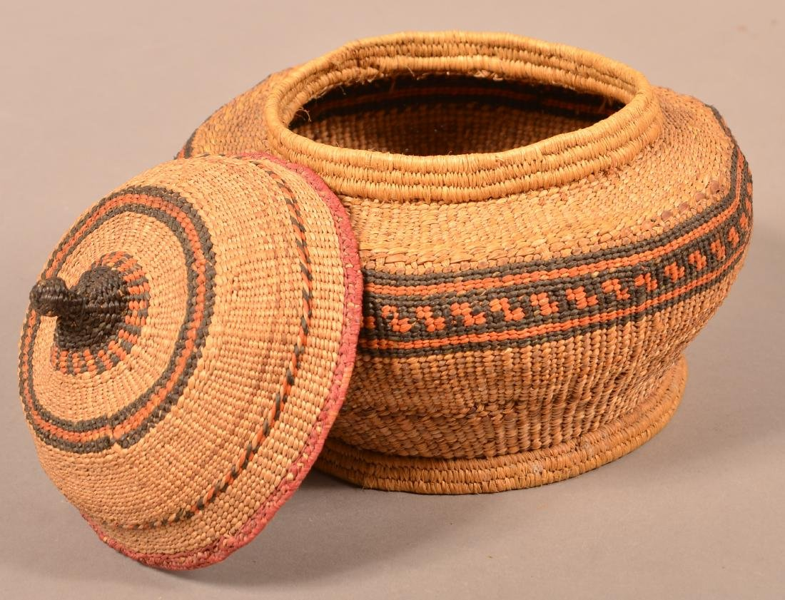 """Antique Quinalt Indian Twined and Lidded Basket 10"""" - 2"""