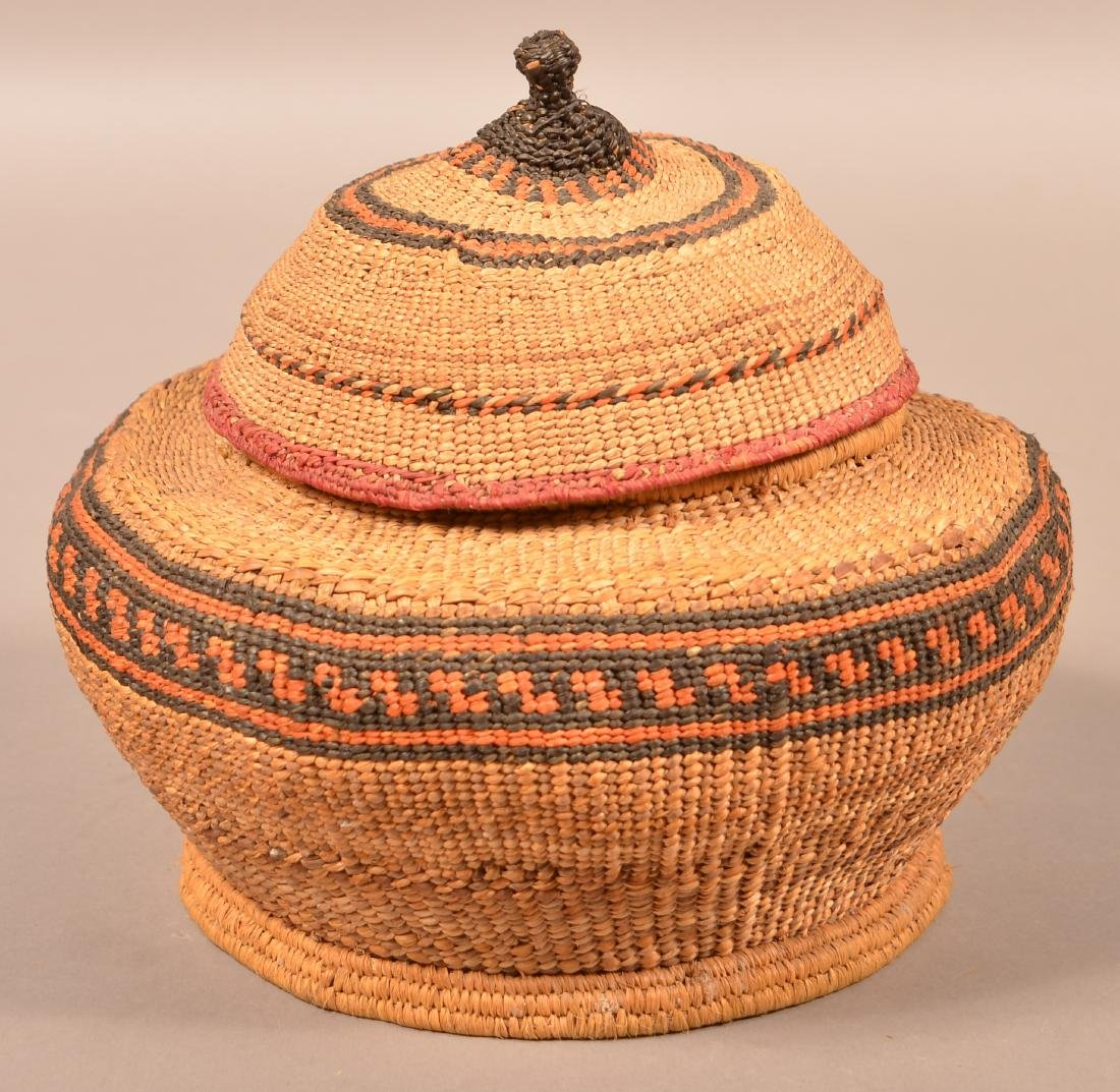 """Antique Quinalt Indian Twined and Lidded Basket 10"""" - 3"""