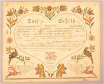 Taufschein. Ephrata: Samuel Baumann, ca 1812. For