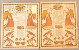 Two taufscheins printed in red and yellow colors by