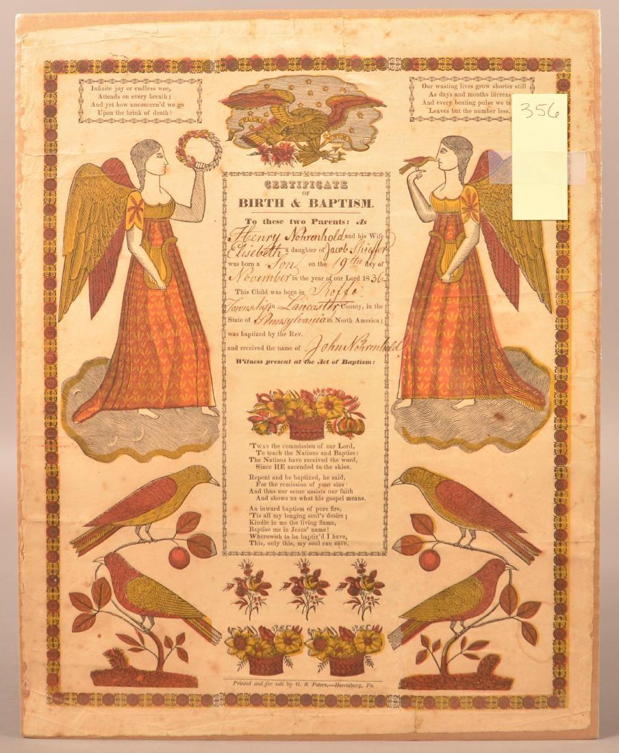 Taufschein, by G. S. Peters, Harrisburg. Dated 1836,
