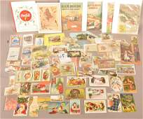 A lot with good post cards, trade cards and other