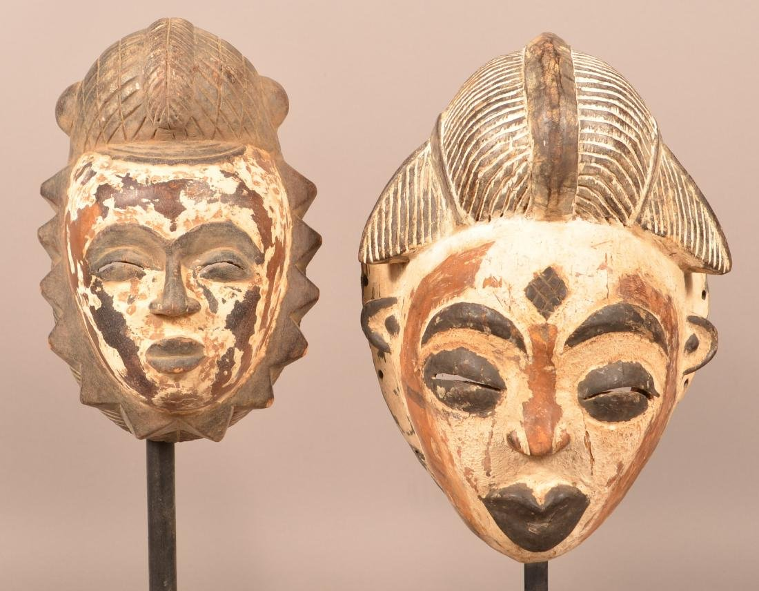 Two Antique/Vintage African Carved Wood Tribal Masks.