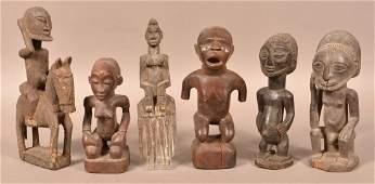 Seven AntiqueVintage African Carved Wood Tribal