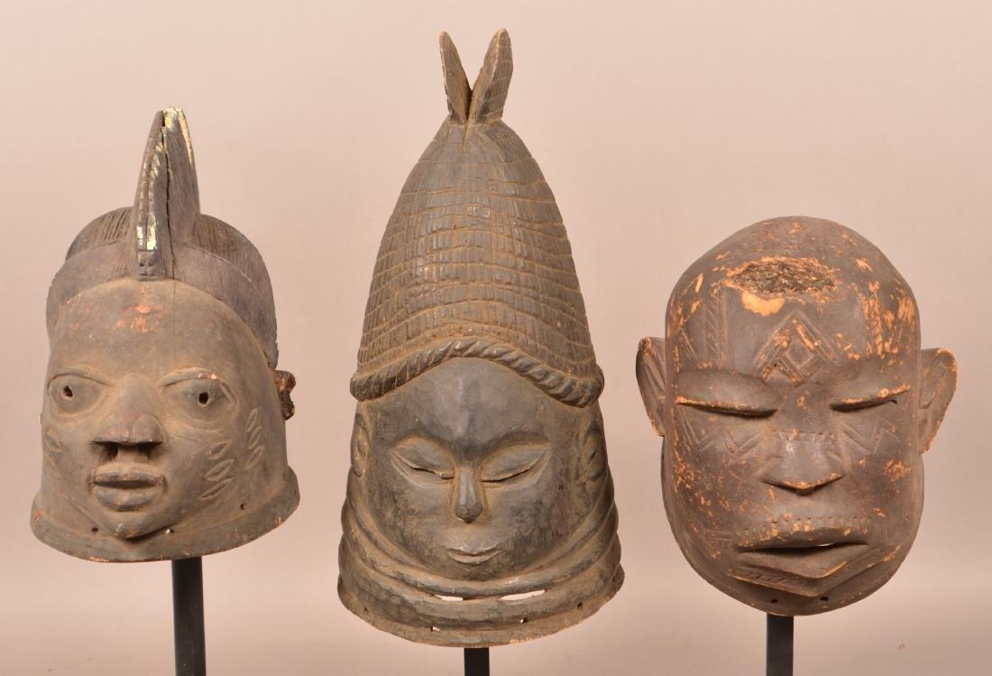 Three Antique/Vintage African Carved Wood Tribal Masks.