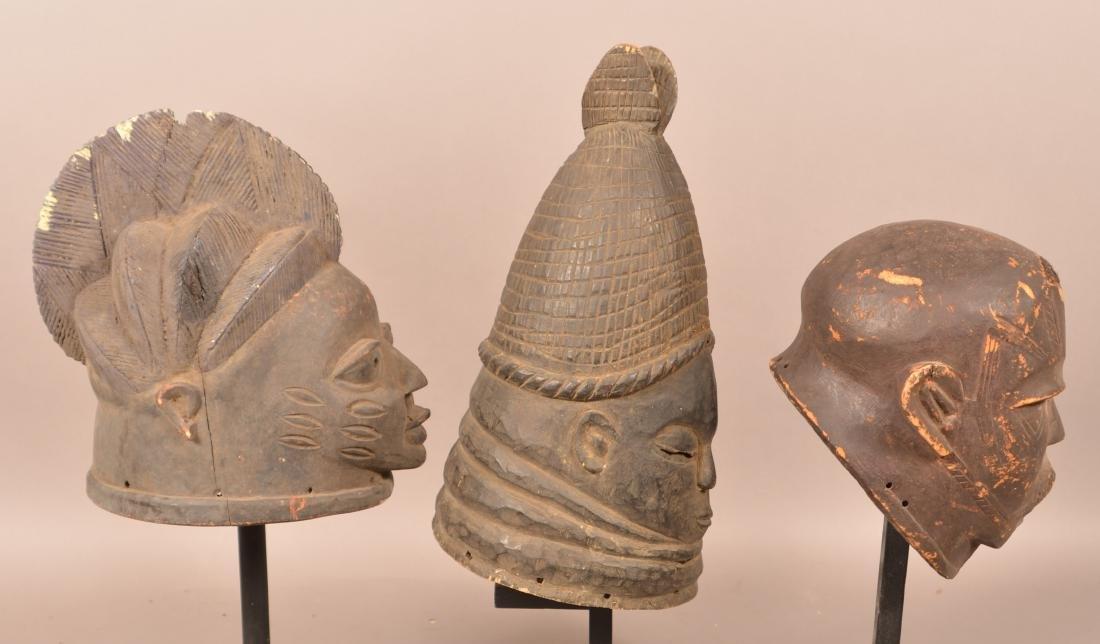 Three Antique/Vintage African Carved Wood Tribal Masks. - 2