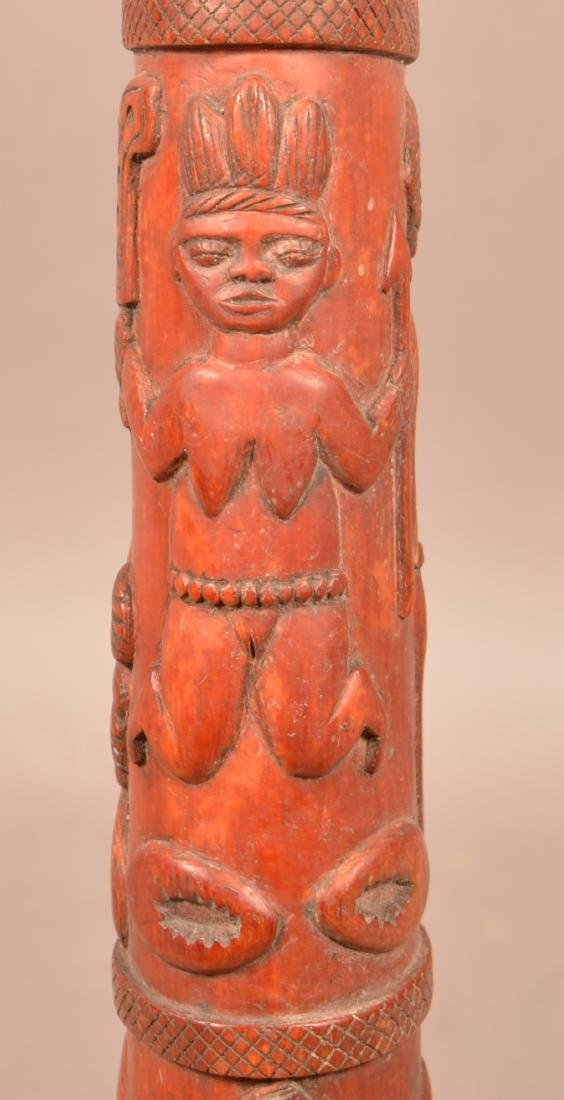 Antique African Figural Tusk Carving. Dyed red. Depicts - 5