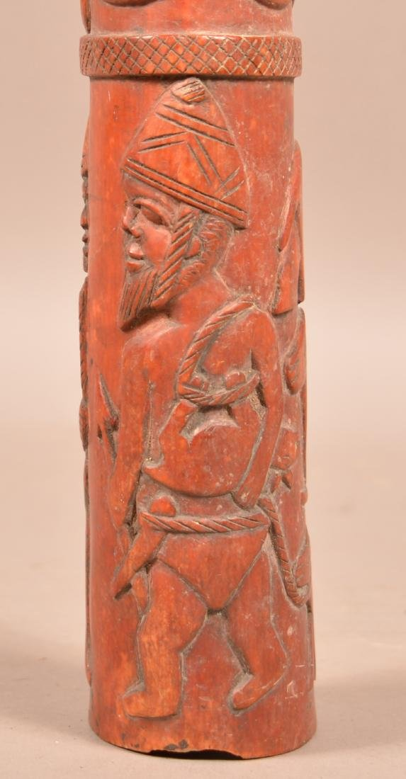 Antique African Figural Tusk Carving. Dyed red. Depicts - 6