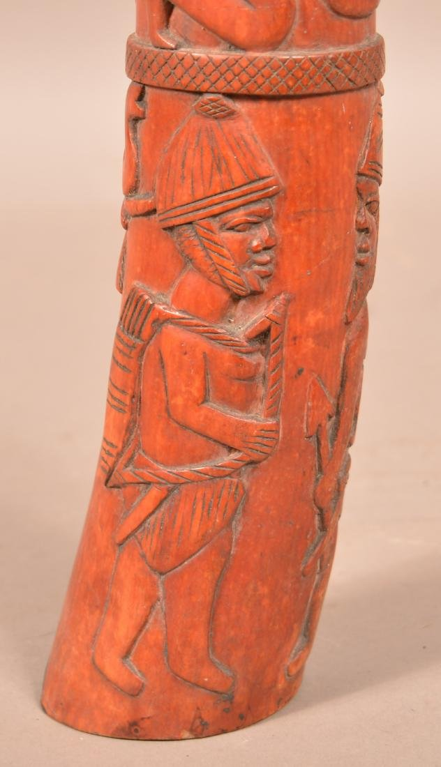 Antique African Figural Tusk Carving. Dyed red. Depicts - 8