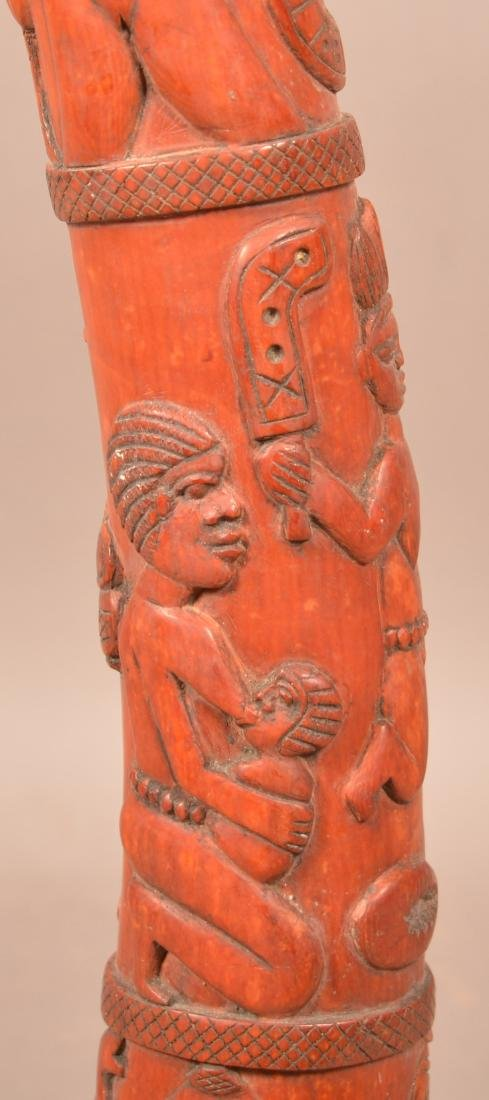 Antique African Figural Tusk Carving. Dyed red. Depicts - 9