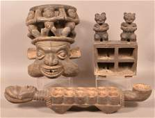 Three AntiqueVintage African Carved Wood Tribal