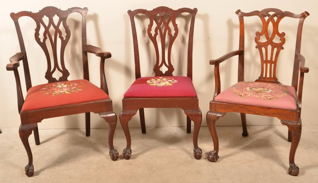 Three Chippendale Style Mahogany Chairs. Attributed to