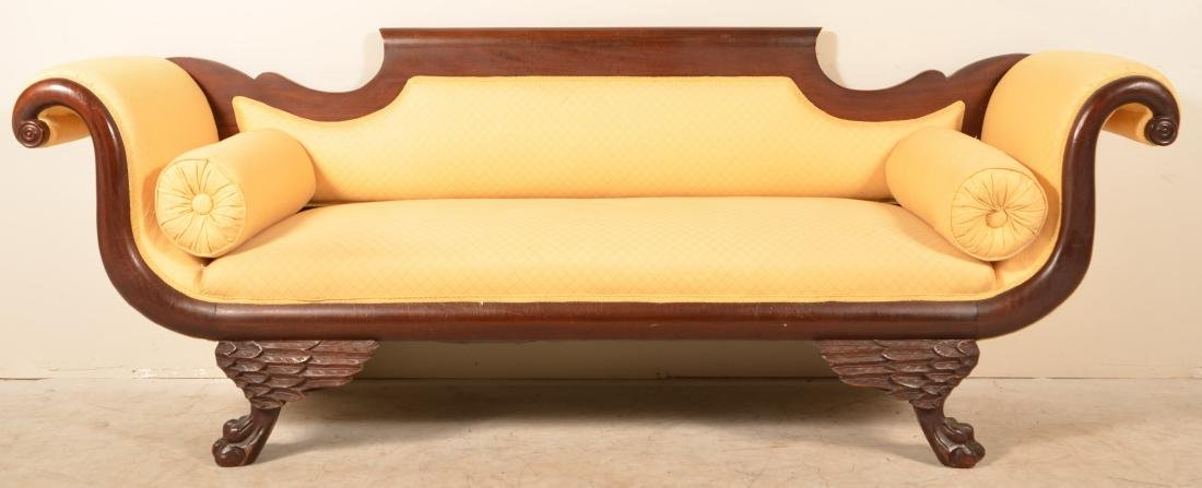 American Federal Mahogany Chesterfield. Shaped back,