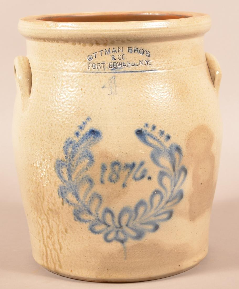 Ottman Bros. Centennial Four Gallon Stoneware Crock.