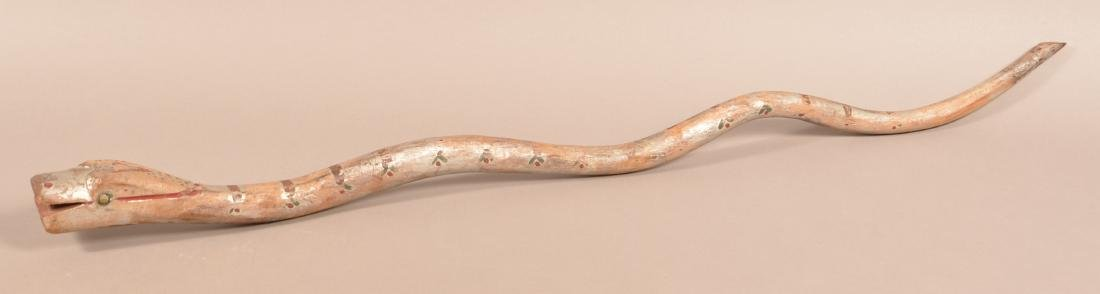 Folk Art Carved and Painted Snake Walking Stick.