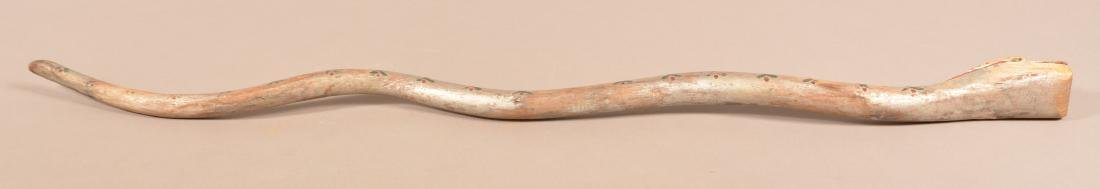 Folk Art Carved and Painted Snake Walking Stick. - 6