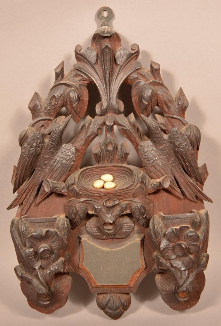 Antique Black Forest Type Carved Walnut Match Holder.