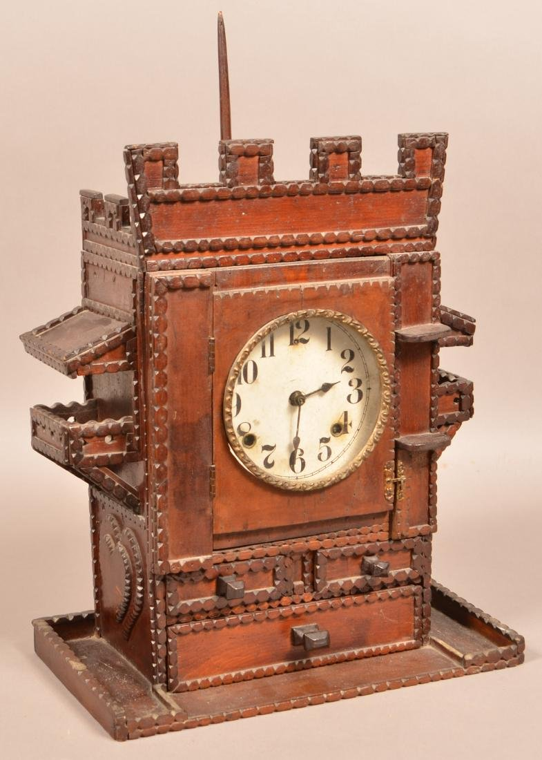 Antique Tramp Art Castle Form Shelf Clock. Unsigned