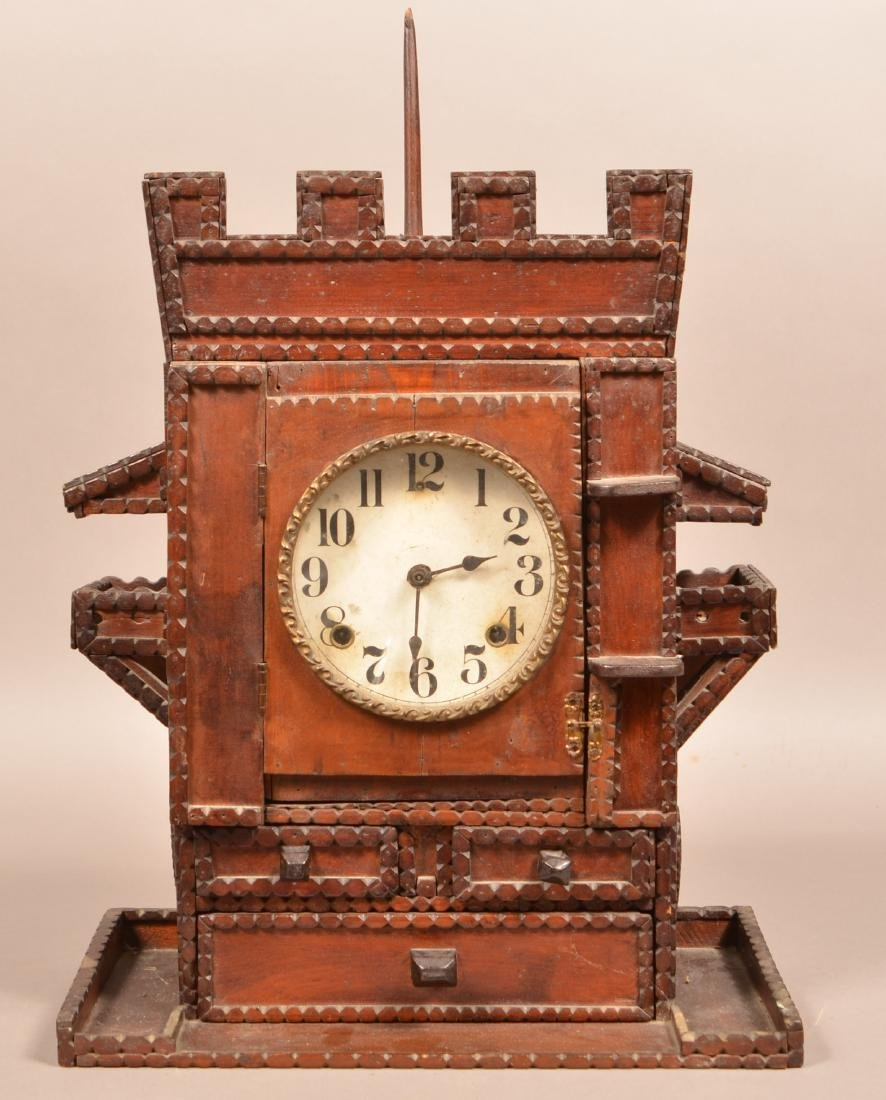 Antique Tramp Art Castle Form Shelf Clock. Unsigned - 2