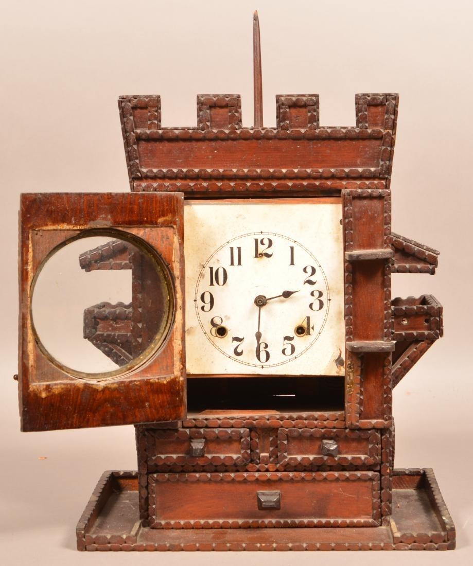 Antique Tramp Art Castle Form Shelf Clock. Unsigned - 3