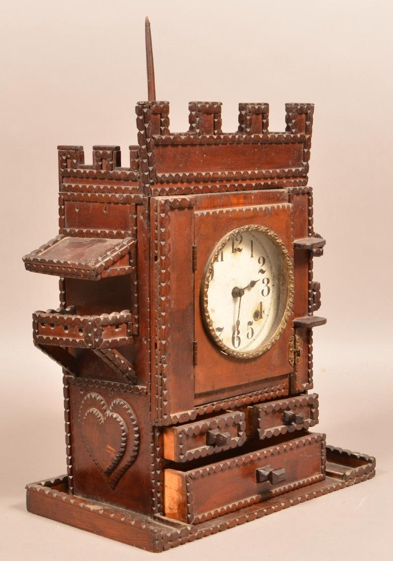 Antique Tramp Art Castle Form Shelf Clock. Unsigned - 4
