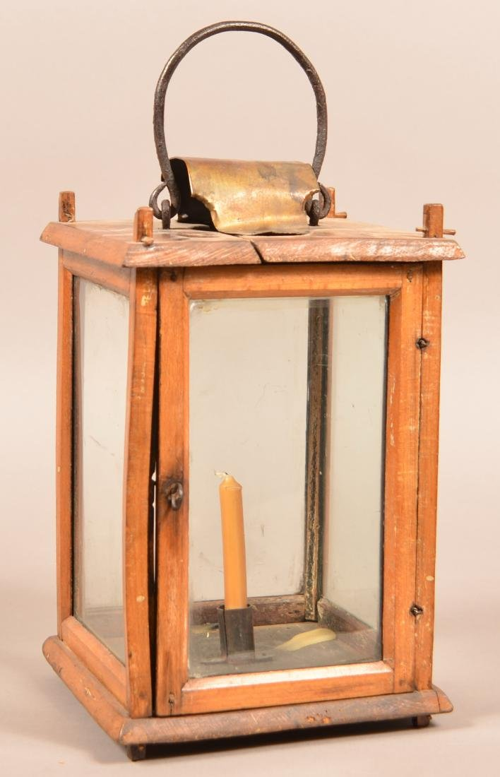 Antique Wooden Candle Lantern. Pegged tenon
