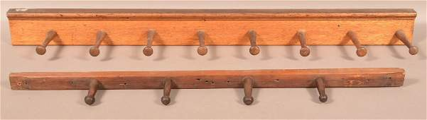 Two AntiqueVintage Wooden Peg Wall Racks 34 and