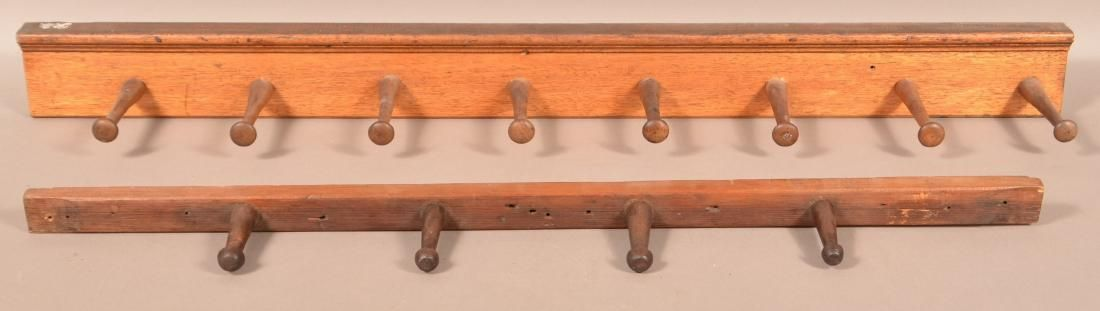 "Two Antique/Vintage Wooden Peg Wall Racks. 34"" and"