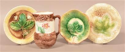 Four Pieces of Majolica Pottery Pitcher measures